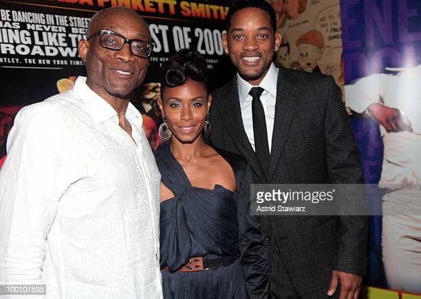 """Bill T. Jones and Jada Pinkett-Smith and Will Smith attend the post-theater reception for """"FELA!"""" at The Palm West on May 20, 2010 in New York City."""