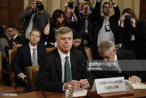 Bill Taylor acting US ambassador to Ukraine center arrives for a House Intelligence Committee impeachment inquiry hearing in Washington DC US on...