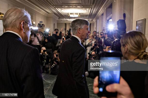 Bill Taylor acting US ambassador to Ukraine exits after a House Intelligence Committee impeachment inquiry hearing in Washington DC US on Wednesday...