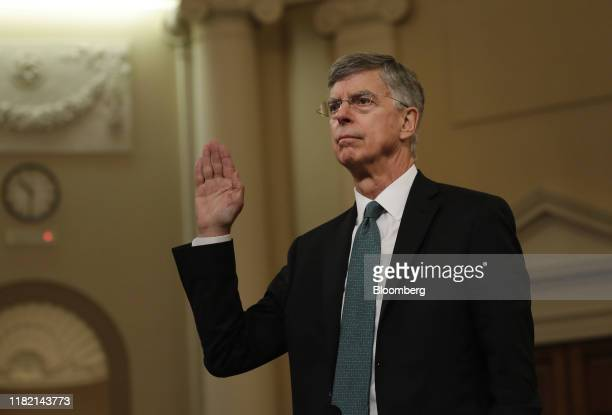 Bill Taylor acting US ambassador to Ukraine is sworn in during a House Intelligence Committee impeachment inquiry hearing in Washington DC US on...