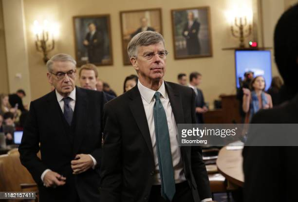 Bill Taylor acting US ambassador to Ukraine leaves for a break during a House Intelligence Committee impeachment inquiry hearing in Washington DC US...