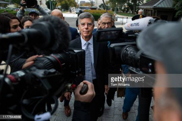Bill Taylor the acting US ambassador to Ukraine arrives to the Capitol for a deposition related to the House's impeachment inquiry on Tuesday October...