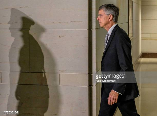 Bill Taylor the top US diplomat to Ukraine arrives on Capitol Hill on October 22 2019 in Washington DC Taylor is expected to testify to house...