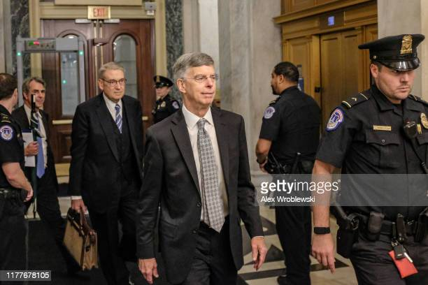 Bill Taylor the top US Diplomat to Ukraine leaves Capitol Hill on October 22 2019 in Washington DC Taylor testified to the house committees regarding...
