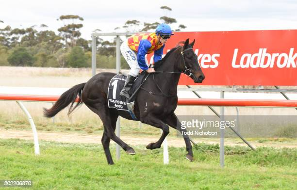 Bill the Conqueror ridden by Jarrod Fry goes out for the Samios Plumbing Maiden Plate at Murtoa Racecourse on June 27 2017 in Murtoa Australia