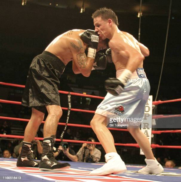 Bill Tompkins/Getty Images Angel Rodriguez and Hector Marengo fight to a Majority Draw at Madison Square Garden during their Super Featherweight...