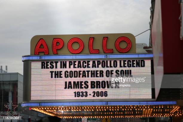 Bill Tompkins/Getty Images Apollo Theatre marquee for the James Brown memorial service at the Apollo Theatre in New York City December 28 2006 in New...