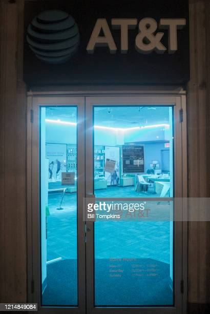 Marh 25: MANDATORY CREDIT Bill Tompkins/Getty Images AT&T store closure due to the coronavirus COVID-19 pandemic on March 25, 2020 in New York City.