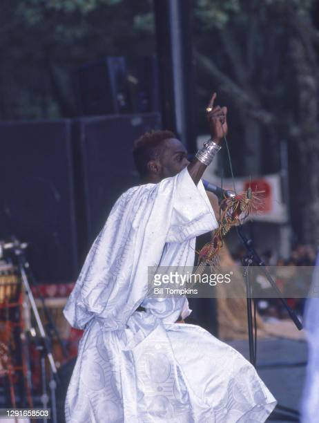 July 22: MANDATORY CREDIT Bill Tompkins/Getty Images Baaba Maal performing during the Central Park SummerStage Concert series on July 22, 1995 in New...