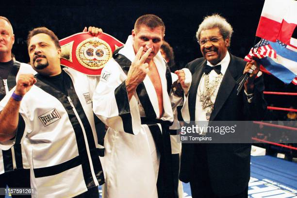 October 6: MANDATORY CREDIT Bill Tompkins/Getty Images Boxing promoter Don King celebrates the win of boxer Andrew Golota at Madison Square Garden on...