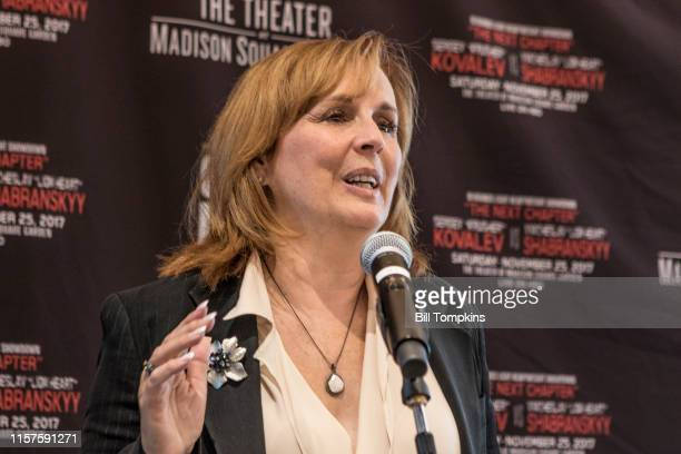 September 21: MANDATORY CREDIT Bill Tompkins/Getty Images Boxing promoter Kathy Duva announces the upcoming Light Heavy weight boxing match between...