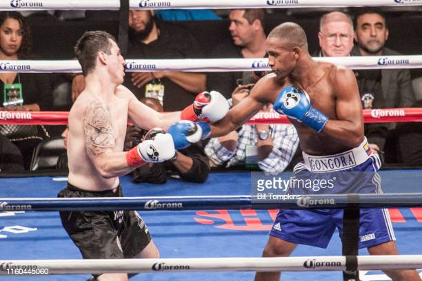 January 16: MANDATORY CREDIT Bill Tompkins/Getty Images Carlos Gongora defeats Derrick Adkins by TKO in their Light Heavyweight fight. Gongora throws...
