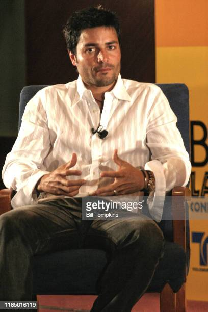 "Bill Tompkins/Getty Images Chayanne being interviewed during the Billboard Latn Awards week""nHotel Intercontinental""nApril 27, 2005 in Miami."