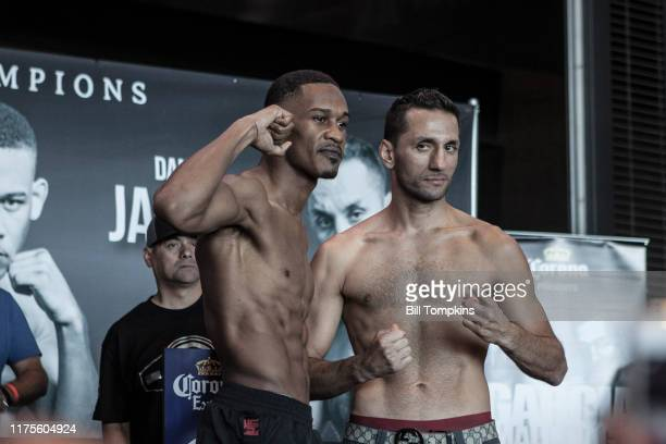 Bill Tompkins/Getty Images Danny Jacobs and Sergio Mora faceoff and pose on July 31, 2015 at Barclays Center in Brooklyn.