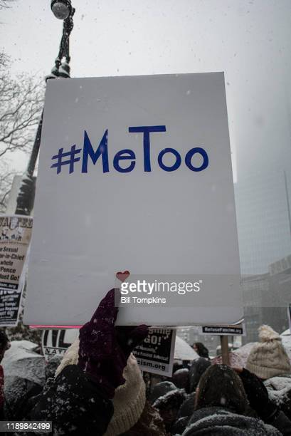 MANDATORY CREDIT Bill Tompkins/Getty Images Demonstrators gather in front of the TRUMP International Building during the #METOO rally on December 9...