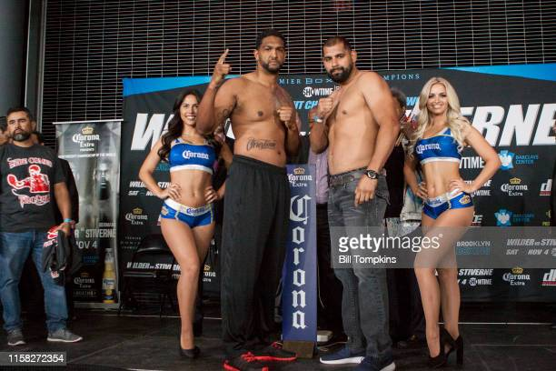 MANDATORY CREDIT Bill Tompkins/Getty Images Dominic Breazeale and Eric Molina pose at the Deontay Wilder vs Bermane Stivern Official WeighIn at the...