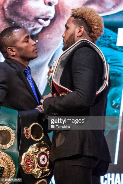 Bill Tompkins/Getty Images Erislandy Lara and Jarret Hurd faceoff during SHOWTIME SPORTS 2018 Boxing Announcements at Cipriani on Jnauary 24 2018 in...