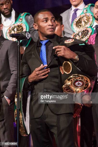 Bill Tompkins/Getty Images Erislandy Lara speaks to the Media during SHOWTIME SPORTS 2018 Boxing Announcements at Cipriani on Jnauary 24 2018 in New...