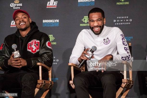 Bill Tompkins/Getty Images Errol Spence Jr and Lamont Peterson at the Final Press Conference for their upcoming fights. The Dream Hotel January 18,...
