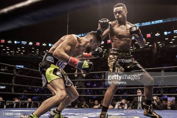 MANDATORY CREDIT Bill Tompkins/Getty Images Errol Spence Jr defeats Chris Algieri by TKO in the 5th round during their Welterweight fight Both men...