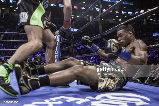 MANDATORY CREDIT Bill Tompkins/Getty Images Errol Spence Jr defeats Chris Algieri by TKO in the 5th round during their Welterweight fight Spence hits...