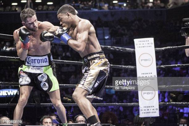 MANDATORY CREDIT Bill Tompkins/Getty Images Errol Spence Jr defeats Chris Algieri by TKO in the 5th round during their Welterweight fight Algieri...