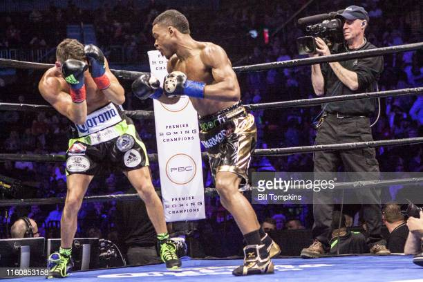 MANDATORY CREDIT Bill Tompkins/Getty Images Errol Spence Jr defeats Chris Algieri by TKO in the 5th round during their Welterweight fight Spence...