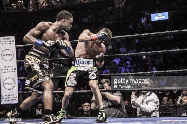 April 16: MANDATORY CREDIT Bill Tompkins/Getty Images Errol Spence Jr defeats Chris Algieri by TKO in the 5th round during their Welterweight fight....