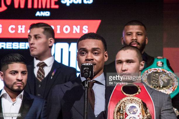 Bill Tompkins/Getty Images Errol Spence Jr speaks to the Media during SHOWTIME SPORTS 2018 Boxing Announcements at Cipriani on Jnauary 24, 2018 in...