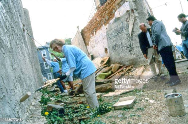 Bill Tompkins/Getty Images Former First Lady Rosalyn Carter working with Habitat for Humanity restoring homes May 1996 in New York City.