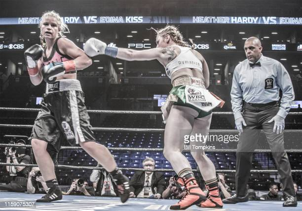 Bill Tompkins/Getty Images Hardy throws a left at the Heather Hardy vs Edina Kiss Featherweigh fight in which Hardy won by Unanimous Decision at The...