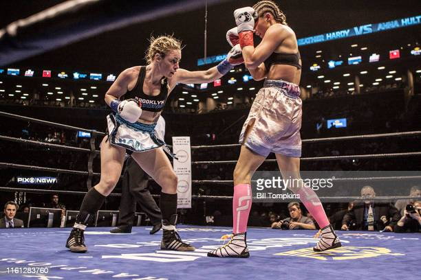 MANDATORY CREDIT Bill Tompkins/Getty Images Heather Hardy defeats Anna Hultin by TKO in the 4th round in their Featherweight fight Hardy throws a...