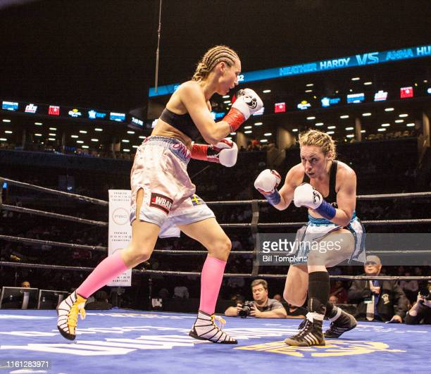 MANDATORY CREDIT Bill Tompkins/Getty Images Heather Hardy defeats Anna Hultin by TKO in the 4th round in their Featherweight fight Both fighters face...