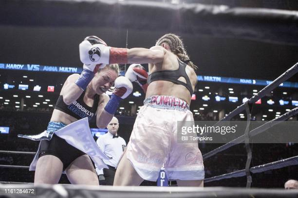 MANDATORY CREDIT Bill Tompkins/Getty Images Heather Hardy defeats Anna Hultin by TKO in the 4th round in their Featherweight fight Both fighters...