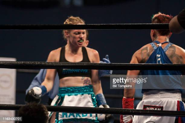 Bill Tompkins/Getty Images Heather Hardy defeats Shelly Vincent by Majority Decision in their Featherweight fight on August 21 2016 in Brooklyn Both...