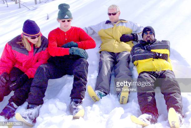 MANDATORY CREDIT Bill Tompkins/Getty Images Hootie The BlowFish on scooter skis January 1999 in Aspen