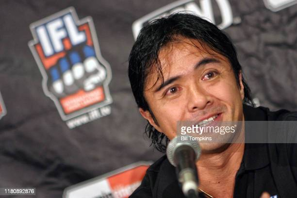 """Bill Tompkins/Getty Images IFL International Fight League. IFL International Fight League. Ken Yashuda--coach at press conference.""""nContinental Arena..."""
