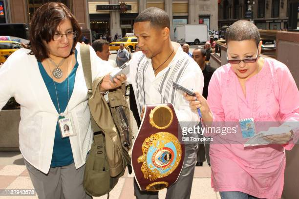 MANDATORY CREDIT Bill Tompkins/Getty Images Ivan Calderon interacting with the media at Madison Square Garden for his upcoming Super Flyweight fight...