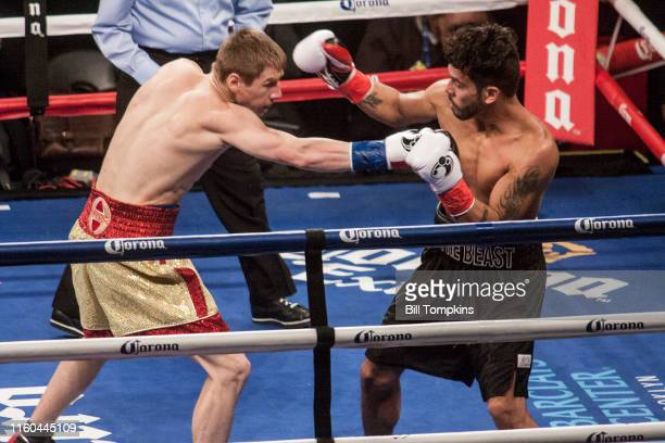 January 16: MANDATORY CREDIT Bill Tompkins/Getty Images Ivan Golub defeats Juan Rodriguez by TKO in their Super Welterweight fight. Golub throws a...