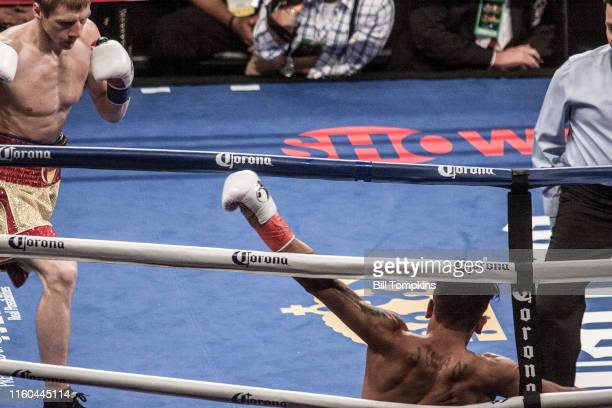 January 16: MANDATORY CREDIT Bill Tompkins/Getty Images Ivan Golub defeats Juan Rodriguez by TKO in their Super Welterweight fight. Golub knocks down...