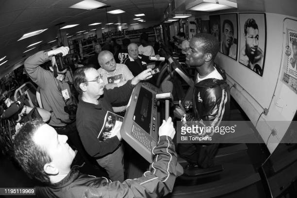 June 6: MANDATORY CREDIT Bill Tompkins/Getty Images Joshua Clottey works out and speaks to the Media prior to his Welterweight fight against Miguel...