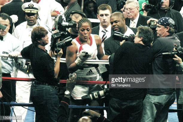 November 11: MANDATORY CREDIT Bill Tompkins/Getty Images Laila Ali defeats Shelley Burton by TKO in the 4th round of their Super Middleweight fight...