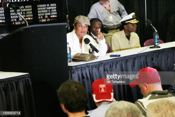 November 11: MANDATORY CREDIT Bill Tompkins/Getty Images Laila Ali post press conference after defeating Shelley Burton by TKO in the 4th round of...