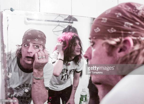MANDATORY CREDIT Bill Tompkins/Getty Images Leif Garrett and a member of his band F8 apply makeup in the dressing room prior to their performance at...