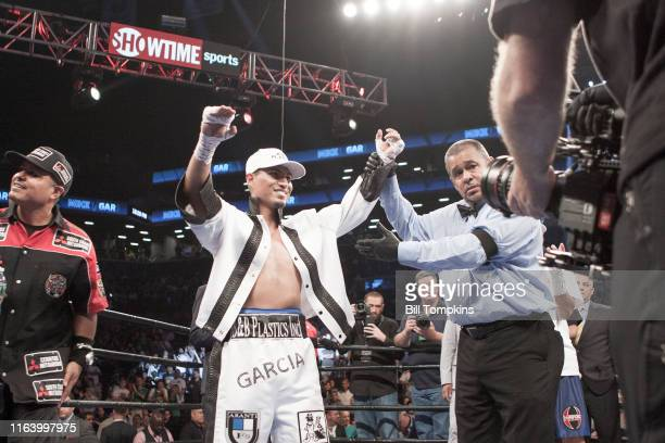 Bill Tompkins/Getty Images Mikey Garcia defeats Elio Rojas by TKO in Round 5 in their Super Lightweight fight at The Barclays Center on July 30 2016...