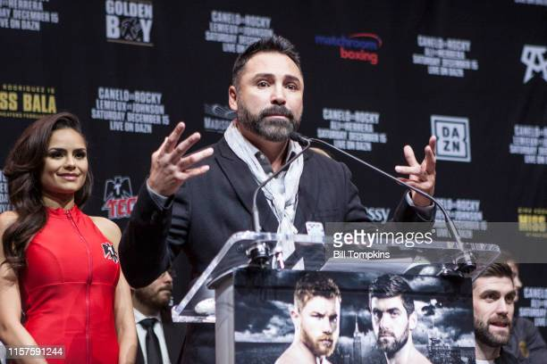 December 13: MANDATORY CREDIT Bill Tompkins/Getty Images Oscar De La Hoya sepaking to the media during the CANELO VS. ROCKY Final Press Conference at...