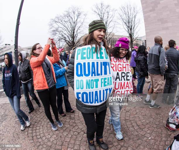 January 21: MANDATORY CREDIT Bill Tompkins/Getty Images Participants during the Women's March on January 21, 2017 in Washington DC.