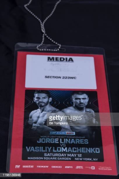 May 12: MANDATORY CREDIT Bill Tompkins/Getty Images Photo credential for the Jorge Linares vs Vasiliy Lomachenko in their Lightweight fight inwhich...