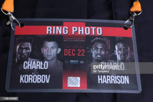 Bill Tompkins/Getty Images RINGSIDE PHOTO CREDENTIAL for the Jermall Charlo vs Matt Korobov Middleweight fight and the Jermell Charlo vs Tony...