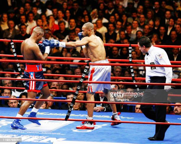 January 19: MANDATORY CREDIT Bill Tompkins/Getty Images Roy Jones Jr defeats Felix Trinidad in their fight at Madison Square Garden, New York...